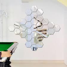Hexagonal Frame <b>12Pcs</b> Acrylic <b>Mirror Wall</b> Sticker | Shopee Malaysia
