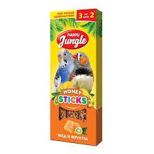 Лакомство <b>Happy Jungle палочки для</b> птиц мед+фрукты 3 шт. -