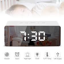 <b>LED Mirror</b> Alarm <b>Clock</b> Digital Snooze Table <b>Clock</b> Wake Up Light ...