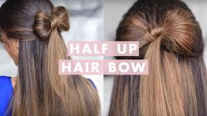 Half-up <b>Hair Bow Cute</b> Hair Tutorial - YouTube