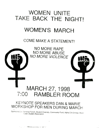 feminist organizations women and leadership archives take back the night flyer 1998