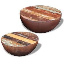 Shop vidaXL <b>Two Piece Bowl Shaped</b> Coffee Table Set Reclaimed ...