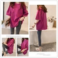 New loose <b>large size</b> solid <b>color</b> ladies T-shirt,<b>5 colors</b>, M-2XL ...