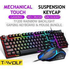 <b>T</b>-<b>WOLF TF200</b> Gaming Keyboard Mouse Set LED Rainbow RGB ...