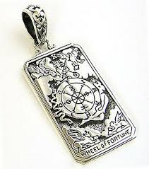 <b>WHEEL OF FORTUNE</b> TAROT CARD DOG TAG STERLING <b>925</b> ...