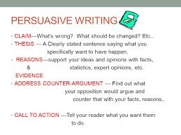 th grade persuasive essay persuasive writing claimwhats  persuasive writing claimwhats wrong what should be changed etc