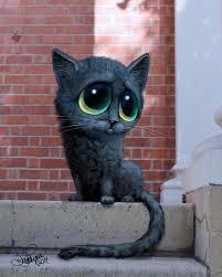 Black Cat Artwork Big Eyed Original <b>Painting Wall</b> Art <b>Animal</b> Art Cat ...