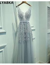 Sexy V neck Evening Dress <b>Robe De Soiree</b> 2019 High Quality Grey ...
