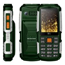 Мобильный <b>телефон BQ 2430</b> Tank Power Green Silver — купить ...