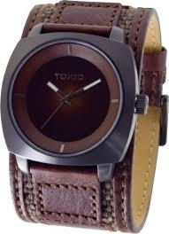 <b>Mens</b> Brown Wide Leather Cuff <b>Fashion Watches</b> by Toxic TXL ...