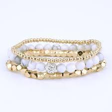 <b>Bojiu white</b> howlite bead <b>bracelet</b> set gold strand beaded woman ...