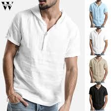 <b>Summer Mens</b> T Shirt Top Outfit <b>Short</b>-Sleeve Solid V-Neck Hooded ...