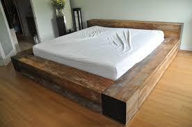 bedroom furniture artistic reclaimed wood bed frame platform with excerpt low hight design dimension affordable affordable reclaimed wood furniture