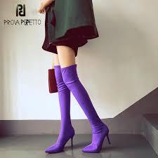<b>Prova Perfetto</b> Purple Candy Color Over The Knee Boots <b>Women</b> ...