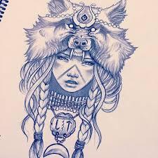 indian <b>girl with wolf headdress</b> - Google Search   Tetoválásminták ...