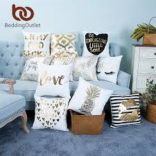 BeddingOutlet <b>Bronzing Christmas Cushion Cover</b> Gold Printed ...
