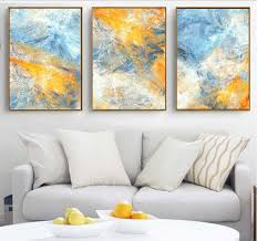 Dream <b>Blue</b> and <b>Yellow Abstract</b> Art Canvas Paintings Modular ...