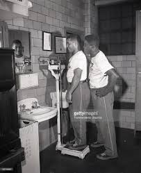 baseball hall of fame brooklyn stock photos and pictures getty brooklyn dodgers roy campanella left and jackie robinson check out the scales in the ebbets field