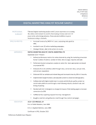 digital marketing analyst resume template and description digital marketing analyst resume template