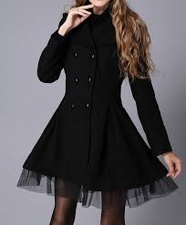 <b>Lace Hem Double Breasted</b> Woolen Blend Trench Coat Dress ...