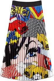 MAKEMECHIC <b>Women's</b> Pleated Skirt Casual Graphic <b>Print</b> ...