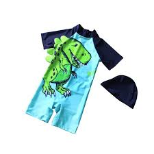 <b>Kids Boys Cartoon</b> Dinosaur Printing Wetsuit One-Piece Short ...