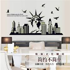 liberty bedroom wall mural: fluorescent luminous statue liberty silhouette glow in the dark wall sticker bedroom livingroom background mural home