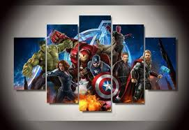 Avengers Animation <b>5 piece picture Painting</b> wall art room decor ...