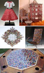 bottle caps are not the first material one probably thinks of when contemplating a detailed portrait some artists relish using unique recycled materials bottle cap furniture