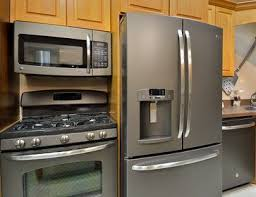 black appliance matte seamless kitchen: cozy kitchen design ideas using wonderful slate appliances slate appliances with refrigerator and cooktop plus microwavewith kitchen cabinets ideas also