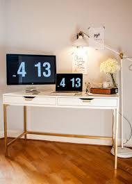 the midas touch desk hack a standard white ikea desk was transformed using gold chic ikea micke desk white