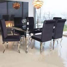 chrome dining tables louis contemporary black or white glass amp chrome m  piece dining tab