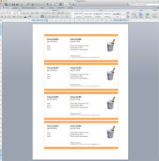 create numbered raffle tickets in word for mac  copy paste everything three times to fill the page four tickets