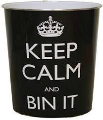 JVL <b>Keep calm</b> and bin it <b>black</b> waste paper bin 25x26.5cm 100 ...