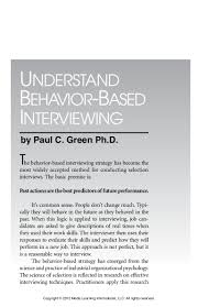 understanding behavior based interviewing by paul c green phd