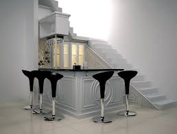 decoration indoor mini bar for home scheme under stairs with open shelving and hanging wine black mini bar