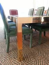 dining room table mirror top: mastercraft brass dining table with  panel bronze mirror top