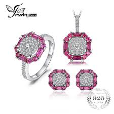 2019 <b>JewelryPalace 3ct Created Ruby</b> Stud Earrings Ring Pendant ...