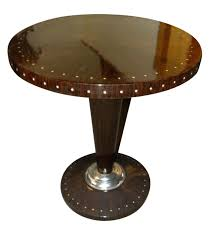 oval dining table art deco: macassar with inlay art deco side table