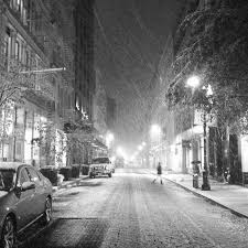 Image result for snow in the city at night