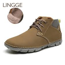 <b>LINGGE Brand</b> Snow Shoes Men Boots 100% Genuine Leather ...