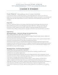 doc cover letter manager objective resume executive marketing resume objective template