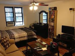 amusing design of the narrow apartment studios with brown wooden floor ideas added with white ceiling apartment studio furniture