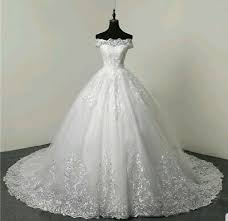 UK Ivory <b>Lace</b> Off Shoulder <b>Sequins</b> Tulle <b>1M</b> Train A Line <b>Wedding</b> ...