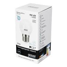 Светодиодная <b>лампа Gauss</b> LED <b>Elementary</b> Globe 6W E27 4100K