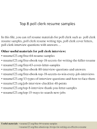 poll worker cover letter paralegal resume objective examples tig top8pollclerkresumesamples 150517012440 lva1 app6891 thumbnail 4jpg cb 1431825923 top8pollclerkresumesamples 150517012440 lva1 app6891 thumbnail 4