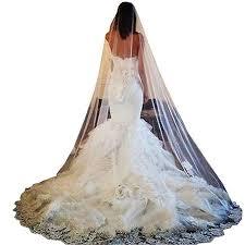 <b>Doragrace</b> White Ivory 1 Layer Lace Edge <b>Long</b> Cathedral Wedding ...