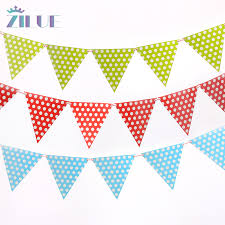 Zilue 2m <b>10pcs</b>/<b>set</b> Small Flags Handmade Polka Dot Banners <b>Blue</b> ...