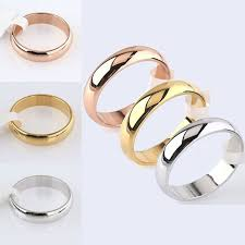 <b>Simple Smooth Ring Stainless</b> Steel Silver Gold Engagement Ring ...