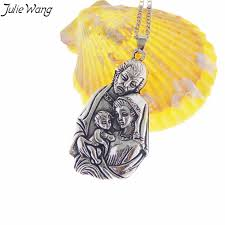 <b>Julie Wang 1PC Antique</b> Silver Color Saint Virgin Mary Joseph Baby ...